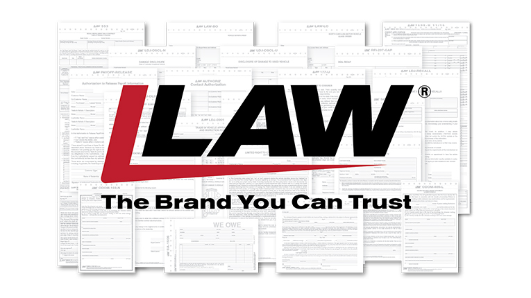 LAW logo on top of law documents.